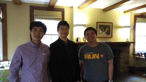 CultureWorks students Peter Tran, left, and Peter Nguyen, right, are heading down the road to priesthood. Here they accompany CultureWorks graduate and staff member, Peter Choi, at a CW event.